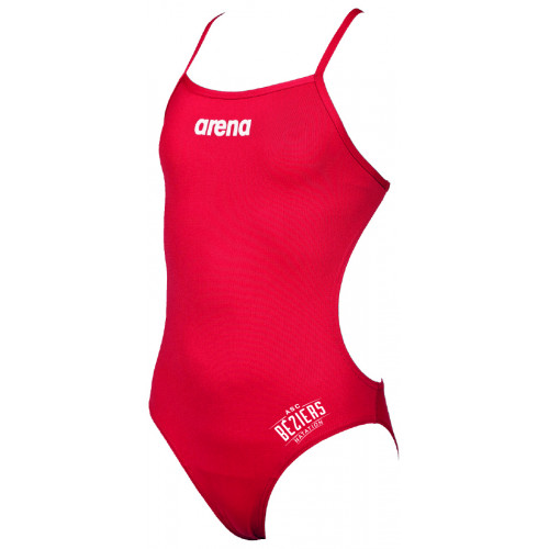 Maillot de Bain Fille ARENA Solid Light Tech Red ASC Béziers