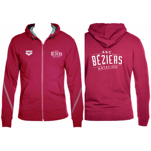 Sweat Zippé Hooded Red Homme ASC Béziers